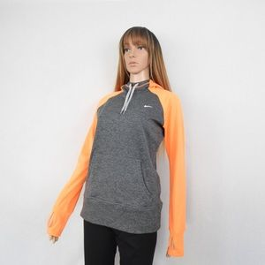 Nike Sweater Hoodie Womens Orange Gray